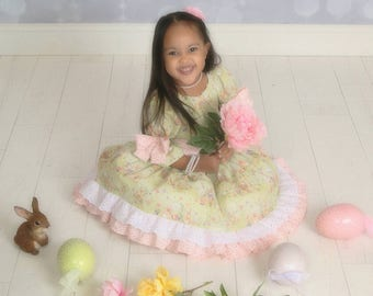 Toddler-Girls Easter Dress, Ruffle Peasant Style, Country Chic with Bow Sash, Made to Order in size 6-9-12 and 18 month 2T 3T 4T 5 6 and 8