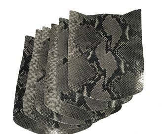 6 Grey Leather Scrap  - 6 Gray Black Snake embossed leather Scraps Remnants