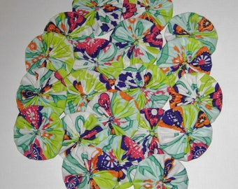 "Fabric YoYos, 20 Bright Multi Color, 2"" Size, Crafting, Appliques, Embellishments"