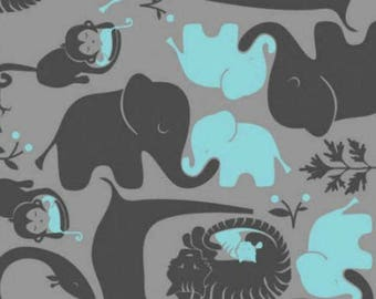 Baby Be Mine in Turquoise Blue and Grey - by the YARD - Cotton Fabric