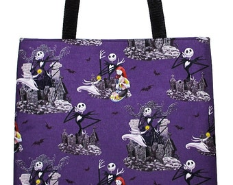 Jack and Sally Tote Bag - Nightmare Before Christmas Purple Carryall Book Bag - Ready to Ship
