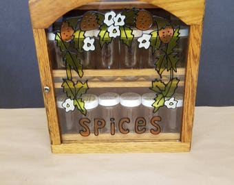 Vintage Wooden Spice Cabinet with 12 Jars