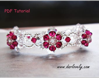 Beaded Bracelet Pattern - Ruby Crystal Flower Bracelet (BB131) - Beading Jewelry PDF Tutorial (Digital Download)
