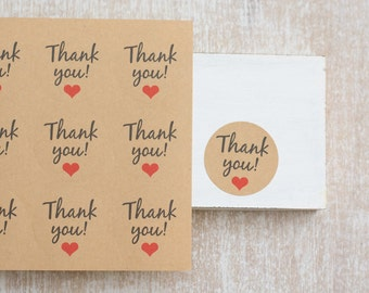 """24 """"Thank you"""" adhesive labels/stickers"""