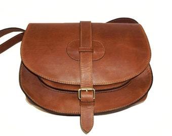 "Tan Goldmann xl - leather saddle bag - leather messenger leather cross-body bag Leather purse satchel saddle bag, fits a 11"" laptop"