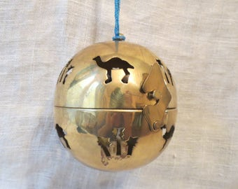 Brass Opening Ball Ornament Hanging Pomander Potpourri