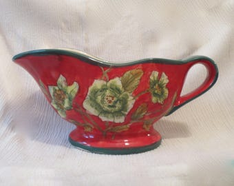 Red Floral Gravy Sauce Boat