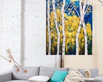 Birch Aspen Original Acrylic Painting 30  x 48 x 1 Gallery wrapped Canvas Ready to Ship Free in US