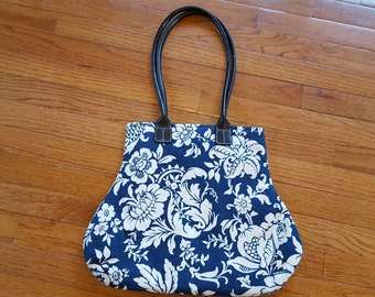 Navy Blue Ecru Floral Handbag Classic Traditional