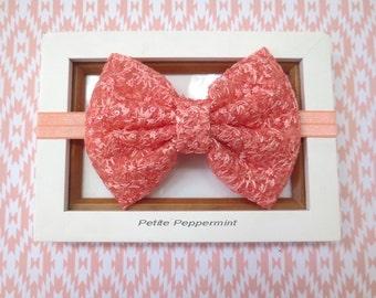 Peach Coral baby headband, baby head band bow, girl headband, toddler headband, infant headband,newborn headband,baby hair bow,girl hair bow