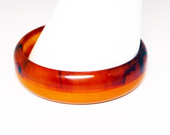 Two Tone Bakelite Bangle Bracelet - Laminated Translucent Brown Marble & Opaque Butterscotch - Vintage 1940's 1950's Bakelite Jewelry