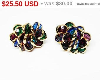 Spring Sale Multi Colored Bezel Set Crystal Beads - Gold Tone Clip on Earrings - Cluster Design in Green, Blue, Red, Blue & Purple - Vint...