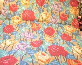 Antique 1920s Soft Cotton Fabric Roses Remnant