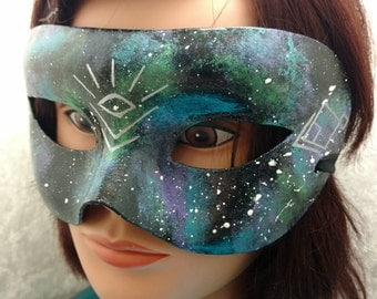 Galaxy Mask with Silver Sacred Geometry