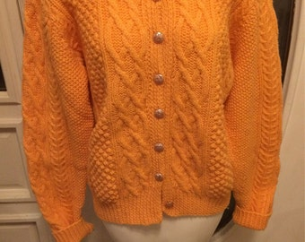 Cable Knit Sweater CableKnit Cardigan Pale Handmade Orange or Cantaloupe Color Hand fashioned Sweater Pearly Buttons Down Front Creamsicle