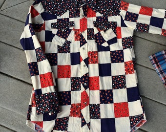 H Bar C Long Tail California Ranchwear Western Shirt RED White and Blue Pearly Buttons Hot Cowboy Patchwork Floral Print Country Western
