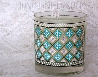 Handmade Blackberry & Sage Scented Soy Wax Jar Candle, Painted Jar Candle, 12 Oz. Tumbler Jar Candle, Green Candle
