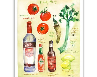 Bloody Mary recipe poster, Kitchen print, Colorful decor, Kitchen wall hanging, Cocktail Bar, Watercolor painting, Drink illustration print