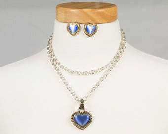 Lapis Necklace / pierced earrings set, Heart shaped, Silver chain, Gold / Antiqued silver bezel, Antiqued silver bale, Highly reflective