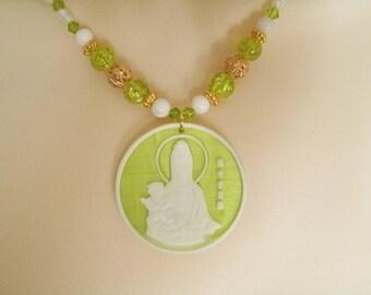 Quan Yin Necklace, buddhist jewelry buddhism jewelry goddess jewelry zen boho bohemian metaphysical new age meditation kwan yin hipster