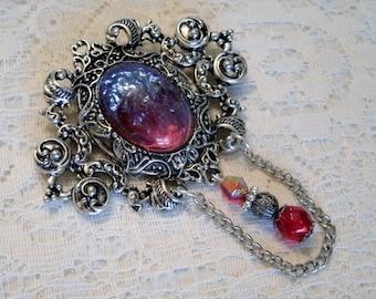 Dragons Breath Fire Opal Brooch, cloak pin renaissance jewelry medieval jewelry tudor jewelry fantasy cosplay steampunk renaissance brooch