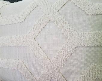 Contemporary Geometric beige throw pillow shell, Home Decor, pillow cover, throw pillow covers, lumbar pillow, chenille, linen 13 x 21