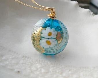 Aqua Zanfirico Murano Glass Necklace