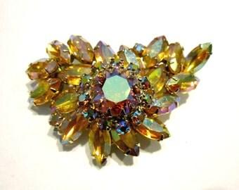 "Vintage Large Rhinestone Brooch Vintage Aurora Borealis 2 1/2"" Pin Gift Idea Under 30 Vintage Pin Juliana"