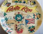 Vintage Puerto Rico Bamboo Souvenir Tray, Retro Puerto Rican Home Decor 1970's 70s, Travel Memorabilia, Caribbean