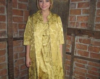 On Sale 1960s Dress Brocade/ Opera Coat Dress/ Wiggle Dress/ Swing Coat Set