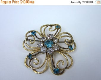 On Sale Vintage Gold Filled Brooch/ Blue and Clear Rhinestone Pin Coat Hat