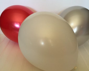 Holiday Premium Balloons - Pearl Latex Balloons - Red, White and Silver Balloons - Party Balloons - Premium Pearl Balloons -