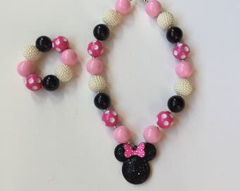 Minnie Mouse Jewelry - Minnie Mouse Bracelet - Minnie Bracelet - Minnie Mouse Necklace - Minnie Birthday - Disney Necklace - Minnie Mouse