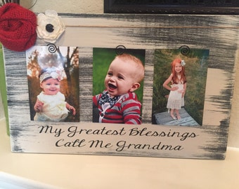 Grandma Grandparents Christmas Gift My Greatest Blessings Call Me Grandma Personalized Frame Gift for Grandma