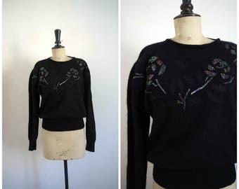 Vintage Années 80 Pull en Laine d'Agneau et Angora Noir et Sequins ALOHA / Taille M-L