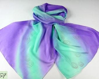 Lavender Mint Silk Scarf Hand Painted, Batik, Women Gift Birthday, Women Fashion Scarf, Gift Her Wife Girlfriend Mom