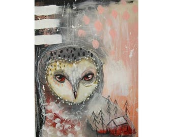 Original owl painting mixed media art painting on wood canvas 8x6 inches - Carrier of dreams