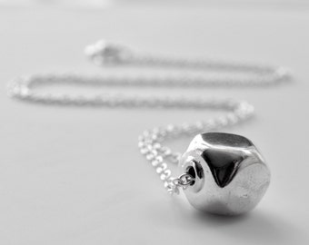 """Sterling Silver Nugget Bead Minimalist Necklace on Sterling Silver Chain, Large Faceted Silver Bead Necklace Short 16"""""""