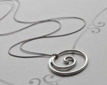 Sterling Silver Spiral Necklace on Silk Minimalist Minimal Solid Silver, Handcrafted Silk Thread Jewelery Silver Swirl Floating Wedding