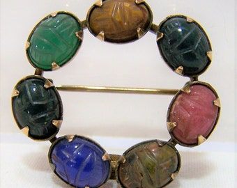 Egyptian Revival Dabros Carved Scarab Circle Pin, 12k Gold Filled Brooch, Tigers Eye, Chalcedony, Rhodonite, Unakite, Chrysoprase 217dg