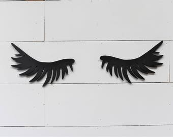 Sleepy Closed Eyelashes Wood Cut Out Sign girls salon nursery baby room boho photo booth prop