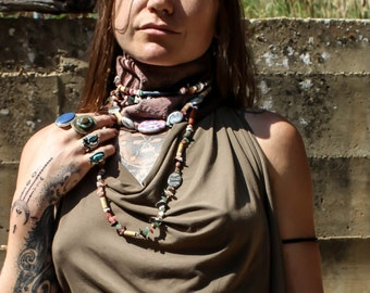 Beaded Leather Scarf / Ritual Neckpiece