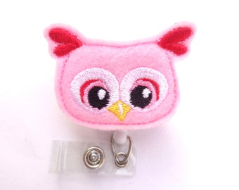 Retractable Badge Holder - Valentine Owl Friend - pink felt owl badge reel - Nurse badge reel medical badge reel - Valentines Day