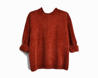 Vintage 90s Plush Chenille Sweater in Rust Orange / Super Cozy Sweater - women's large