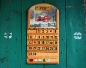 Wood Tile Perpetual Calendar, Folksy Changeable Calendar