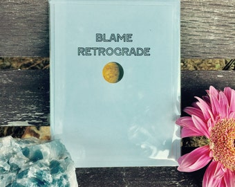 Blame Retrograde Greeting Card Paper Spiritual Awakening Witch Wiccan Pagan Enlightenment Chakras Handmade Mercury Retrograde