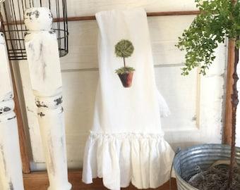 Topiary FlourSack   Ruffled Towels   Tea Towel   Farmhouse Towel   Shabbychic Decor   Cottage Home   FlourSack Towel   Ruffled FlourSack