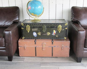 Vintage Steamer Trunk, Footlocker, Coffee Table Trunk with Travel Stickers