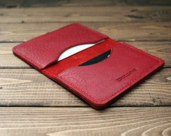 Personalized Credit Card Holder, Minimalist Wallet in Italian Vegetable Tanned RED Leather
