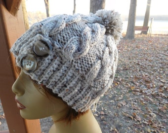Knitted Slightly Slouchy Beanie in Aran Fleck with Pompom
